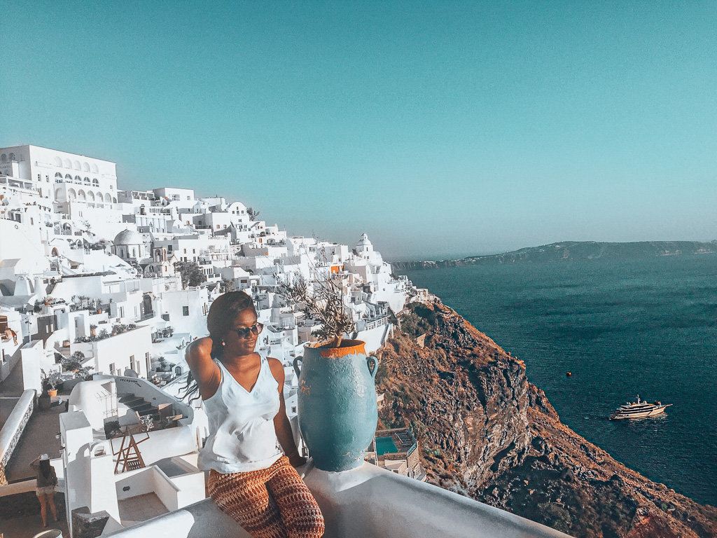 Santorini's iconic landscape on a sunny afternoon