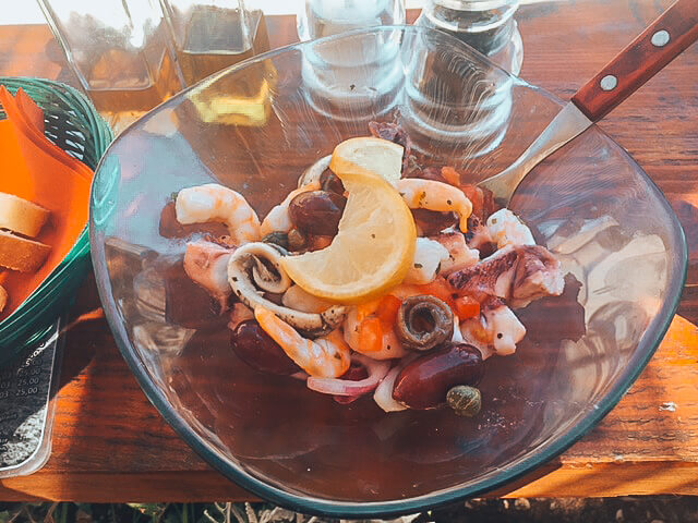 Zesty seafood salad at the beach