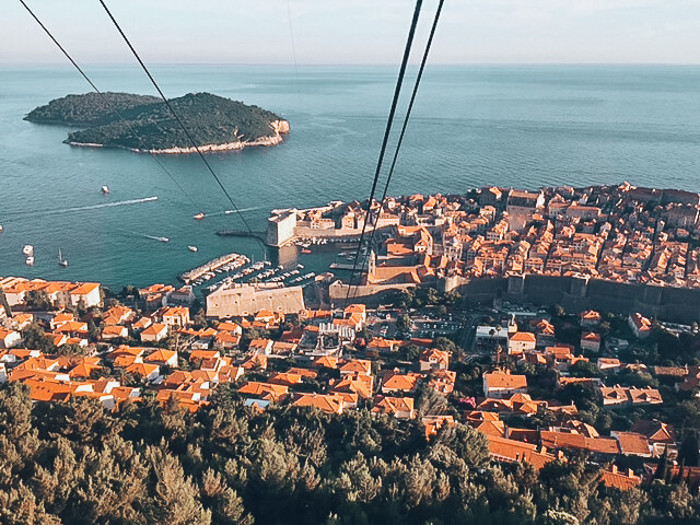 Bird's eye view of the entire city of Dubrovnik from a cable car