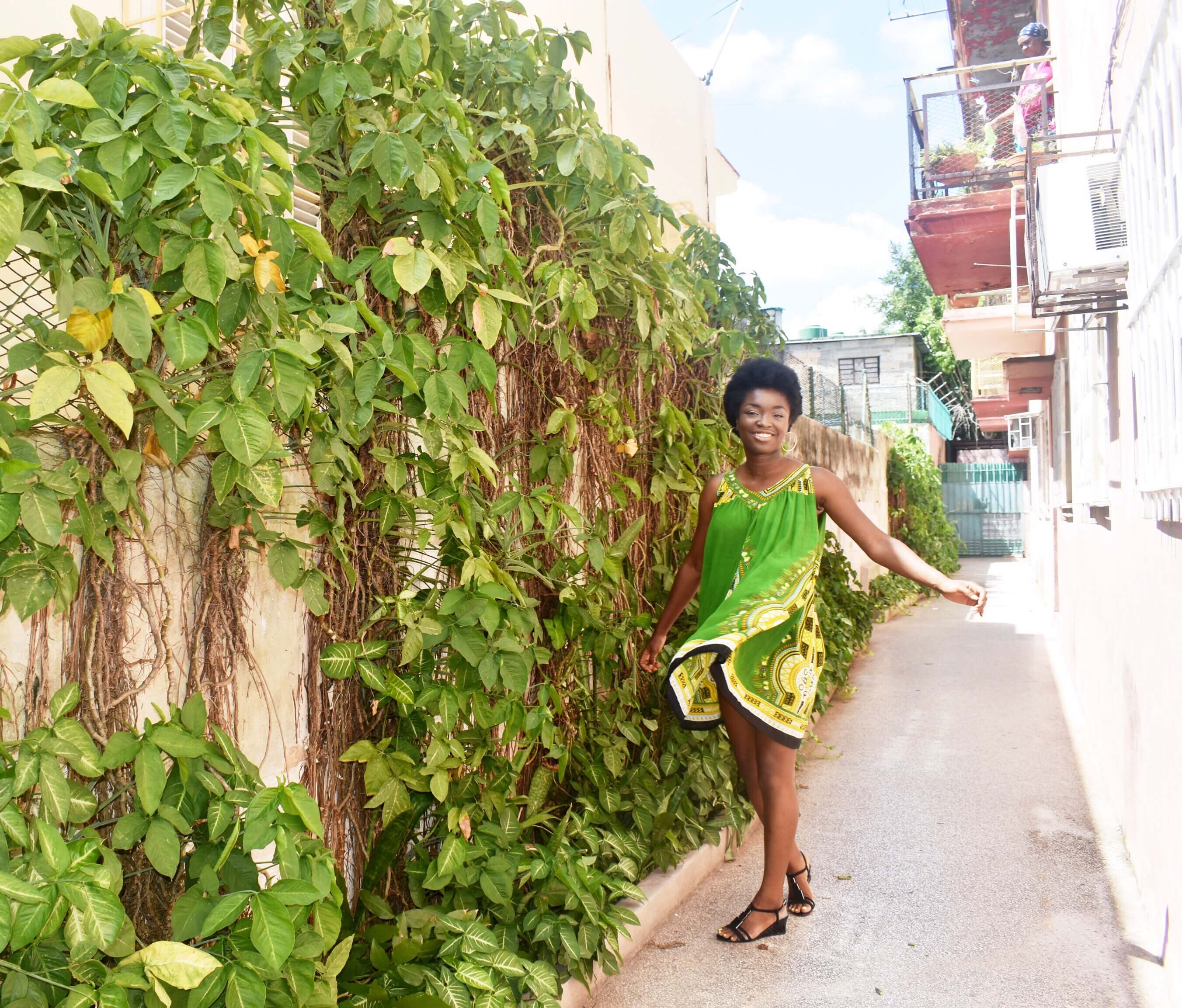 Somto twirling in front of the apartment in Vedado, Havana