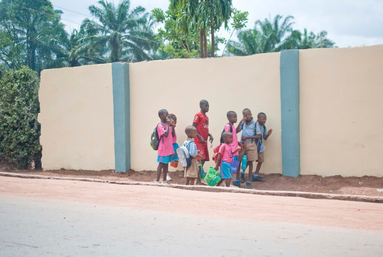 School children walking in the streets of Enugu