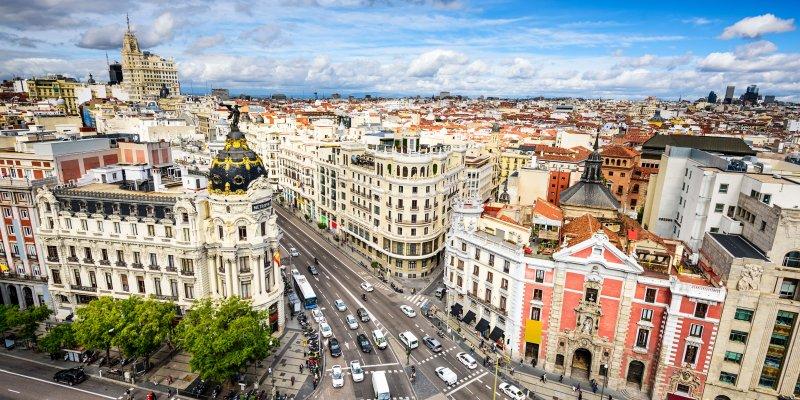 Madrid, Spain cityscape above Gran Via shopping street. View from Circulo de Bellas Artes