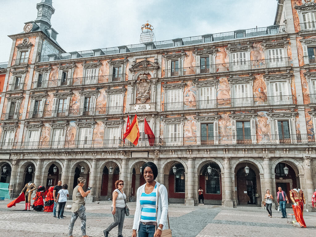 Posing at Plaza Mayor in Madrid