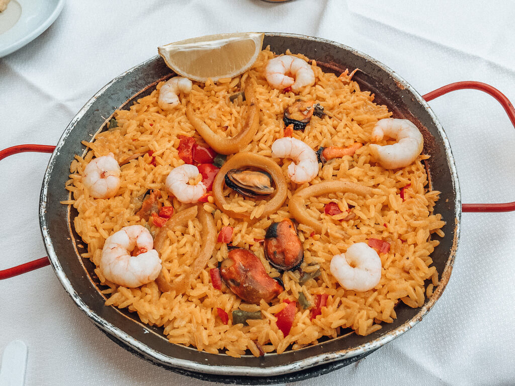Seafood paella I had at Plaza Mayor in Madrid
