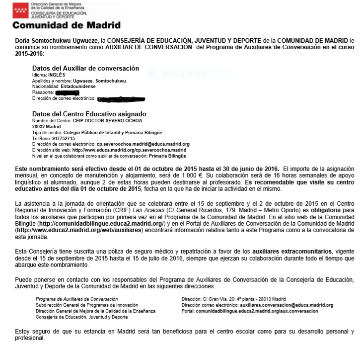 Letter of acceptance with placement in Madrid