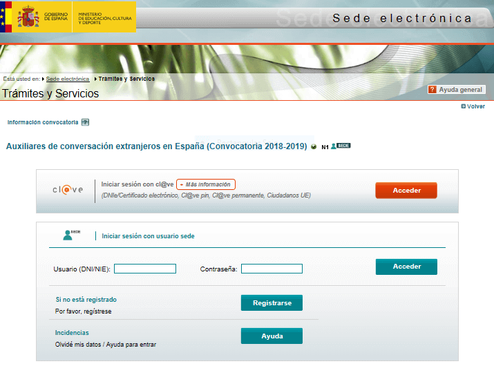 The homepage of the Profex application portal. You'll create a usuario (username) and a contrasena (password)