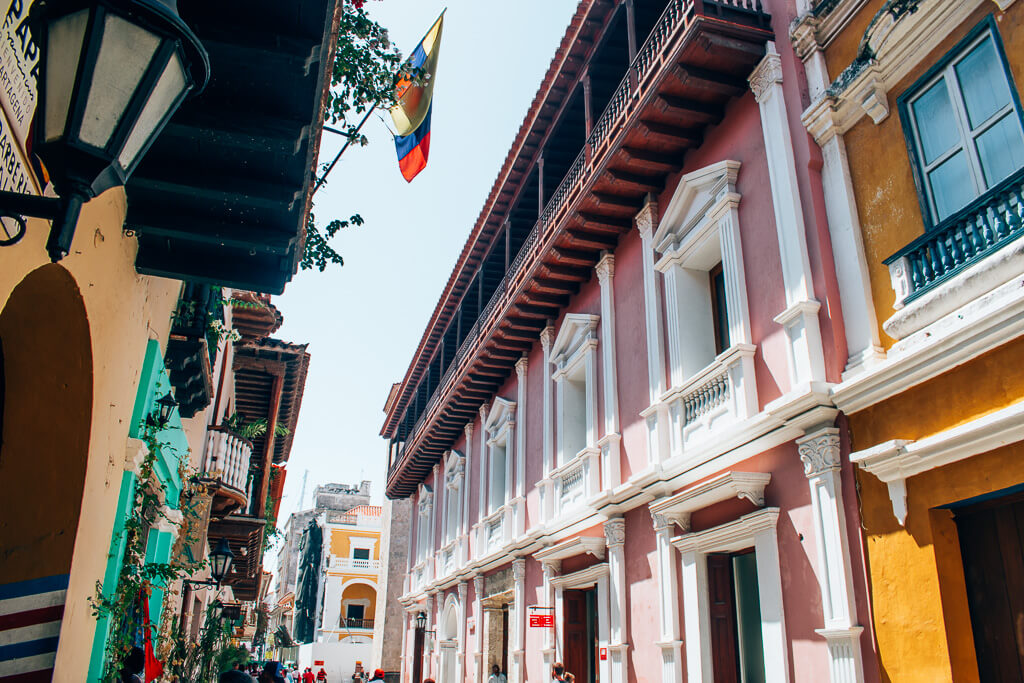 Colombia travel bucket list - colorful buildings in Old Town Cartagena