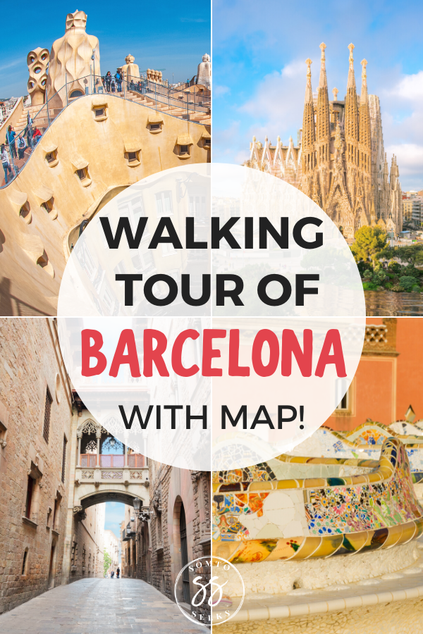 Walking tour of Barcelona with map
