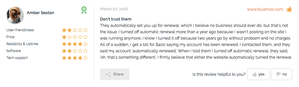 Bluehost review money complaint from Amber