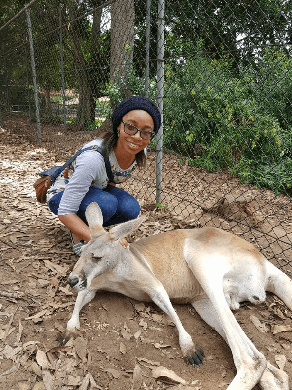 Black female solo travel Diamond with Kangaroos