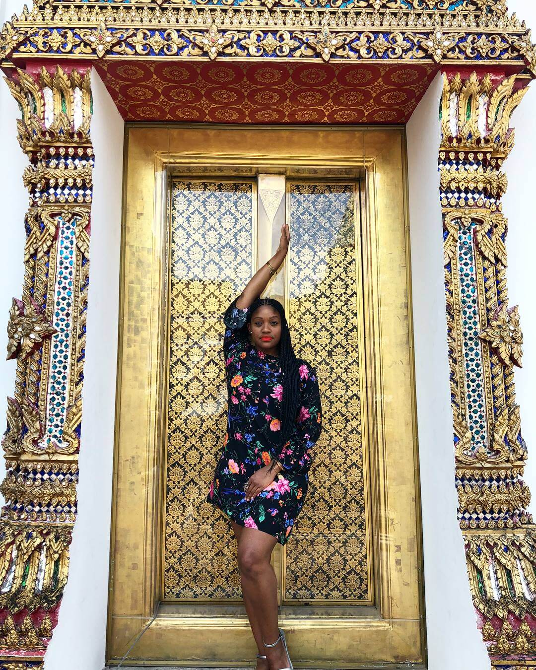 Black female solo travel Rachel at Gold Wall Thailand