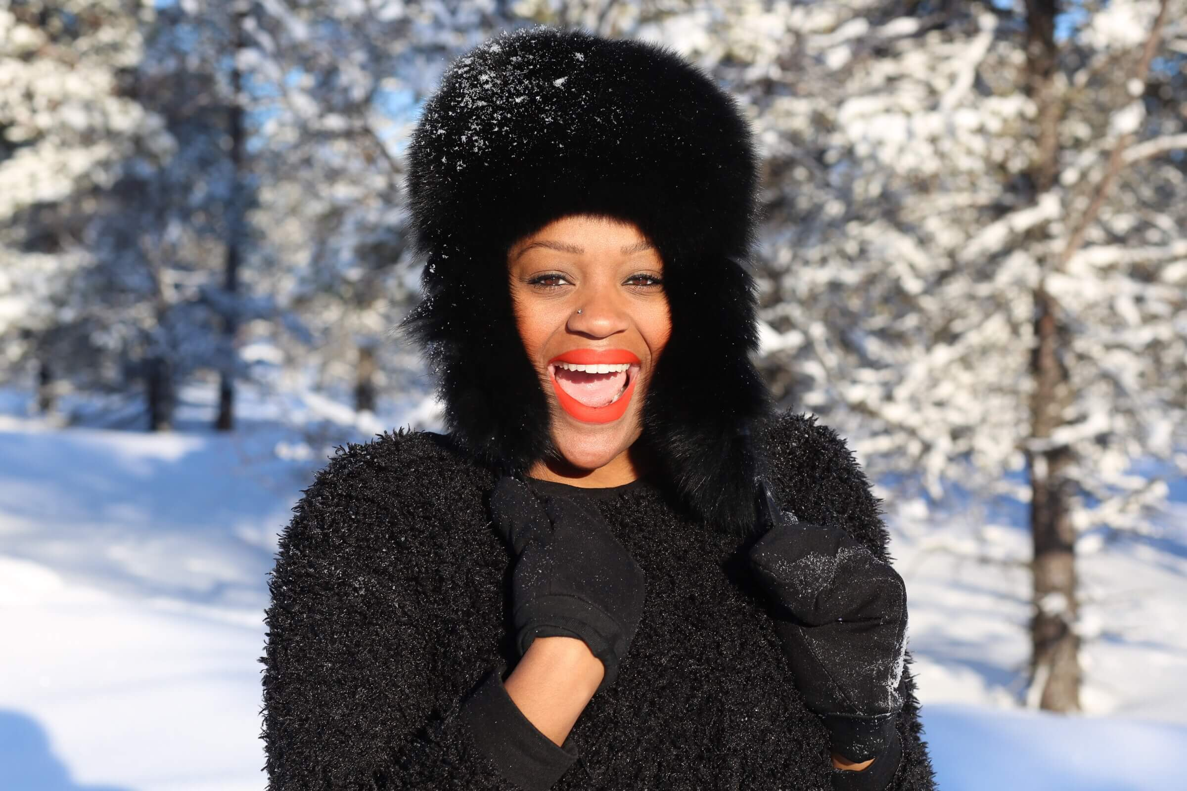 Black female solo travel - Rachel in Arctic, Finland