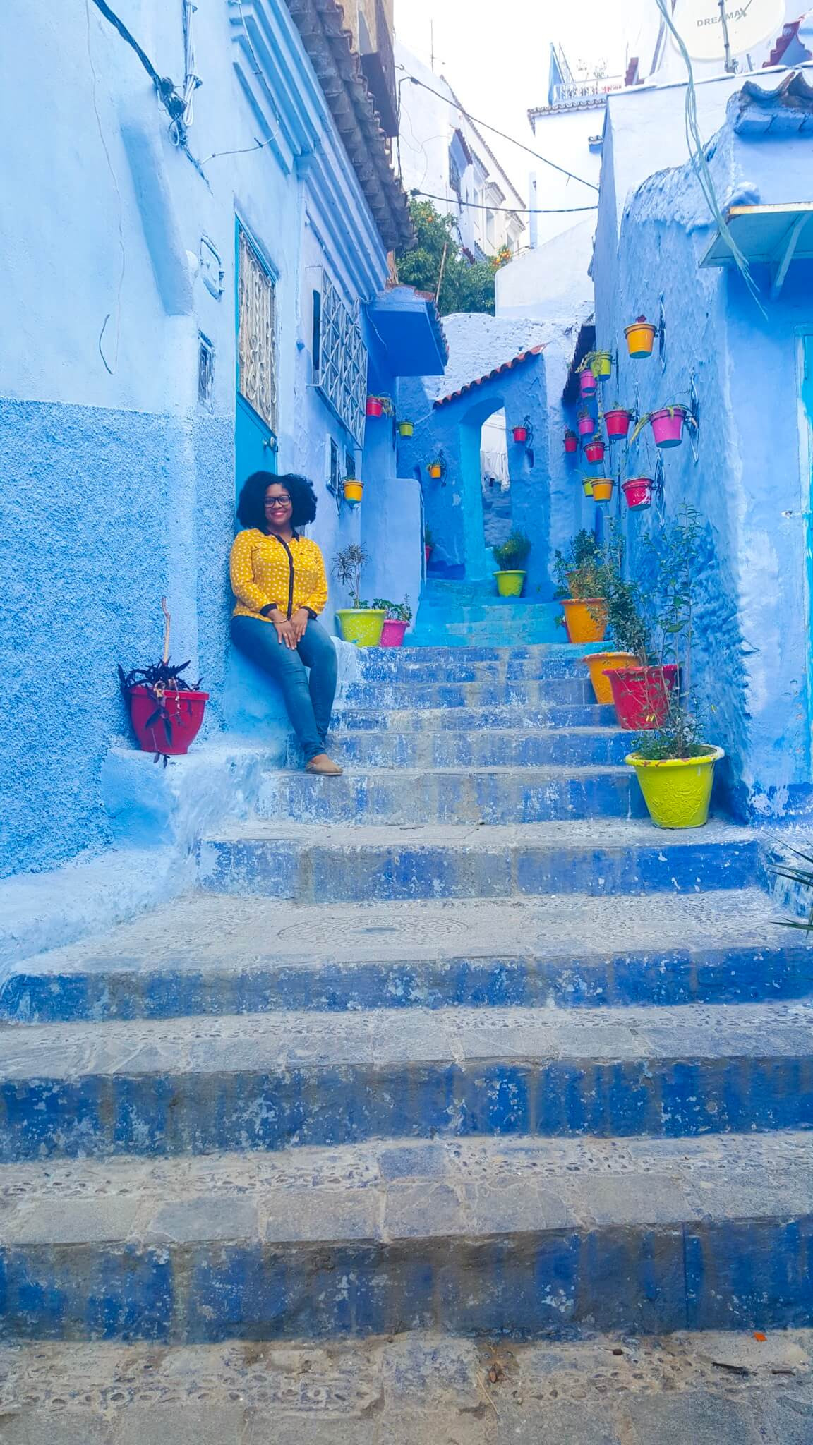 Black female solo travel - Rachel in Chefchaoen Morocco