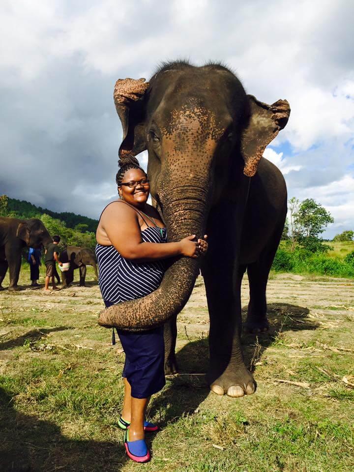 Black female solo travel Tiffany Elephant Thailand