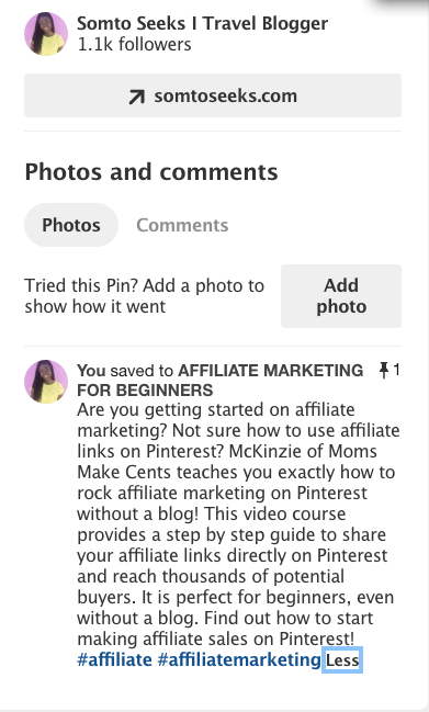 How to make money in Pinterest with affiliate links - pin description
