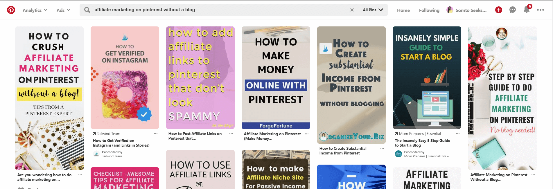 How to make money on Pinterest - affiliate links results on Pinterest search