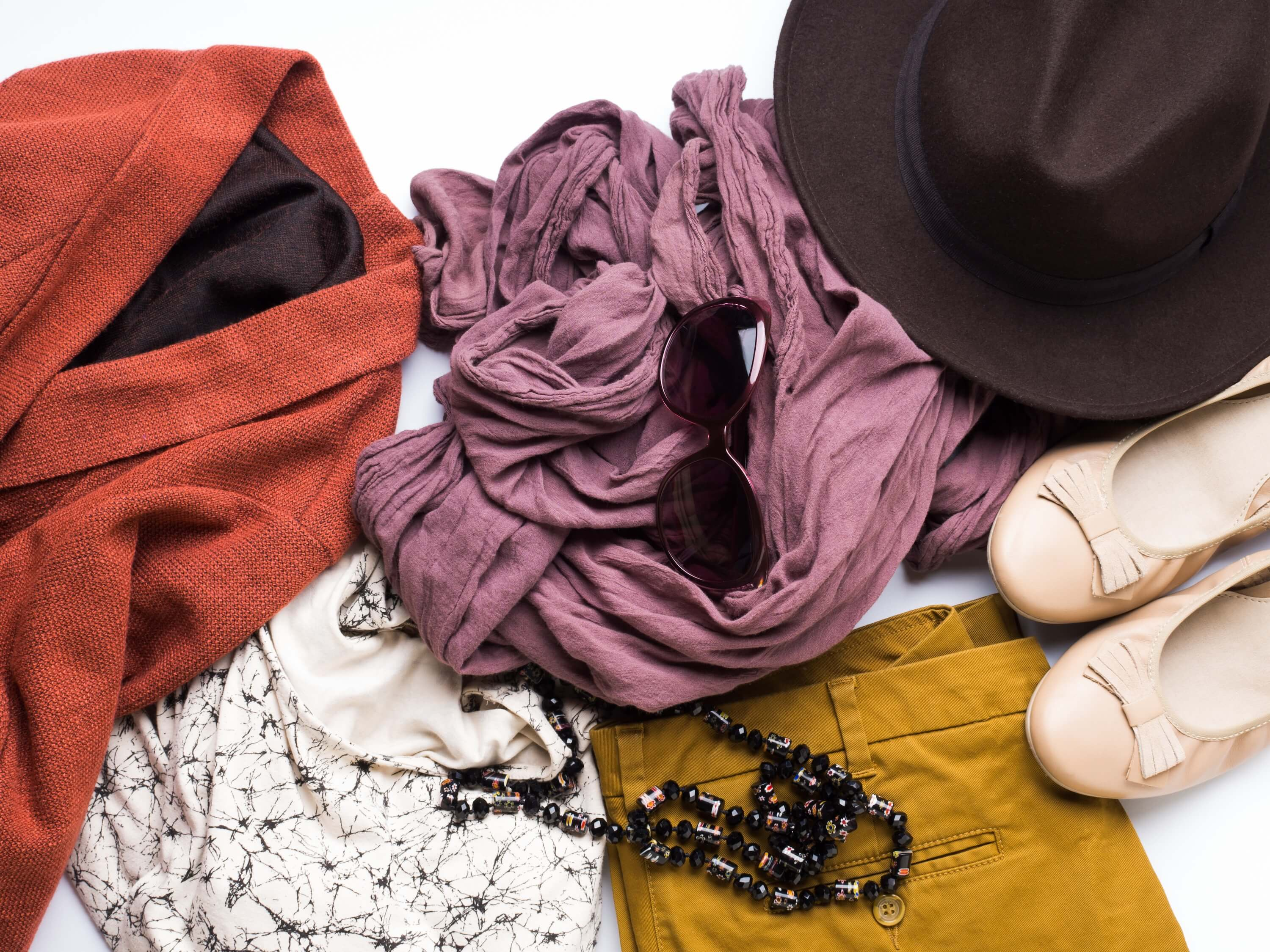 What to pack for fall in Spain - autumn clothes flat lay