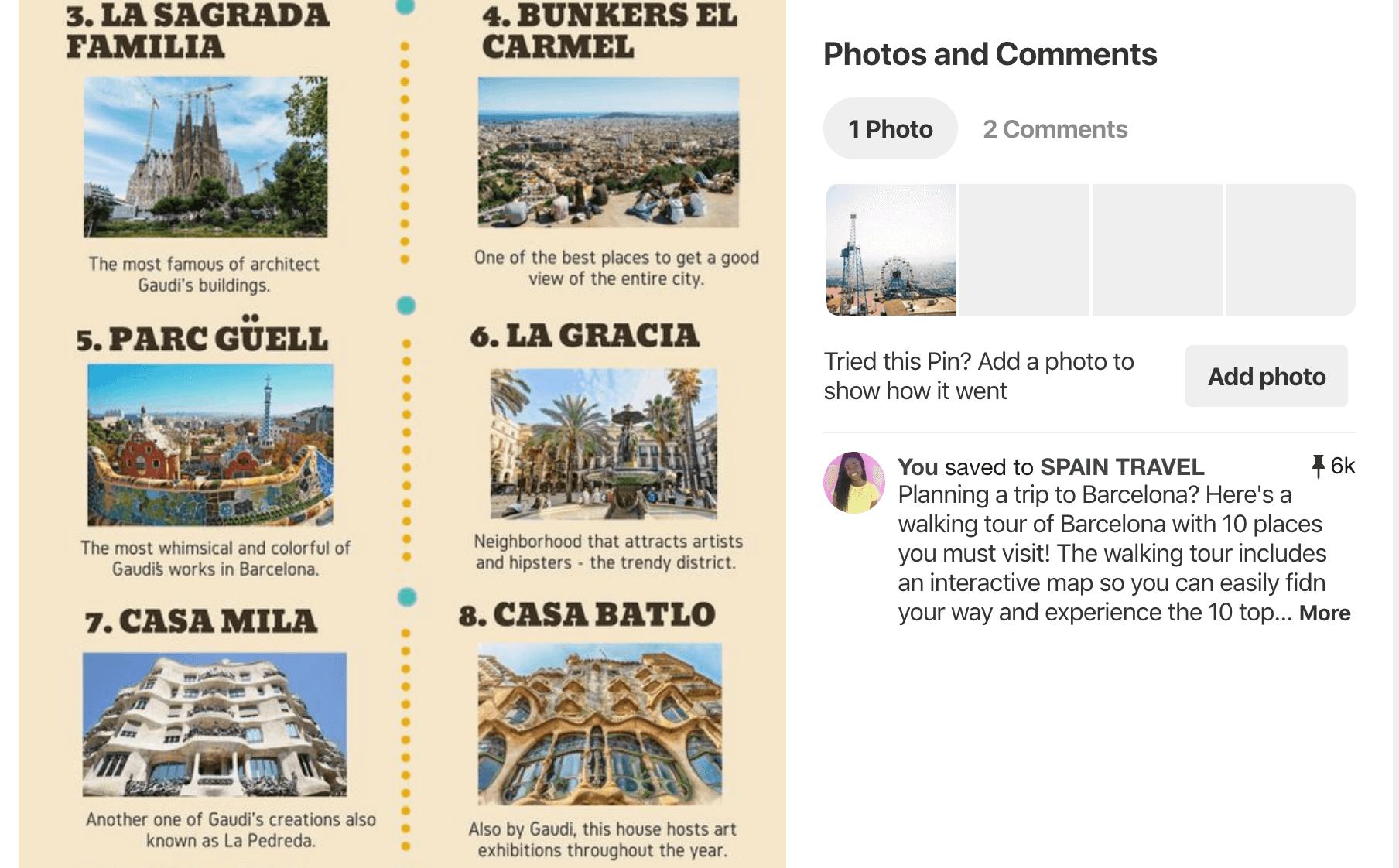 Pinterest for travel bloggers - Barcelona infographic