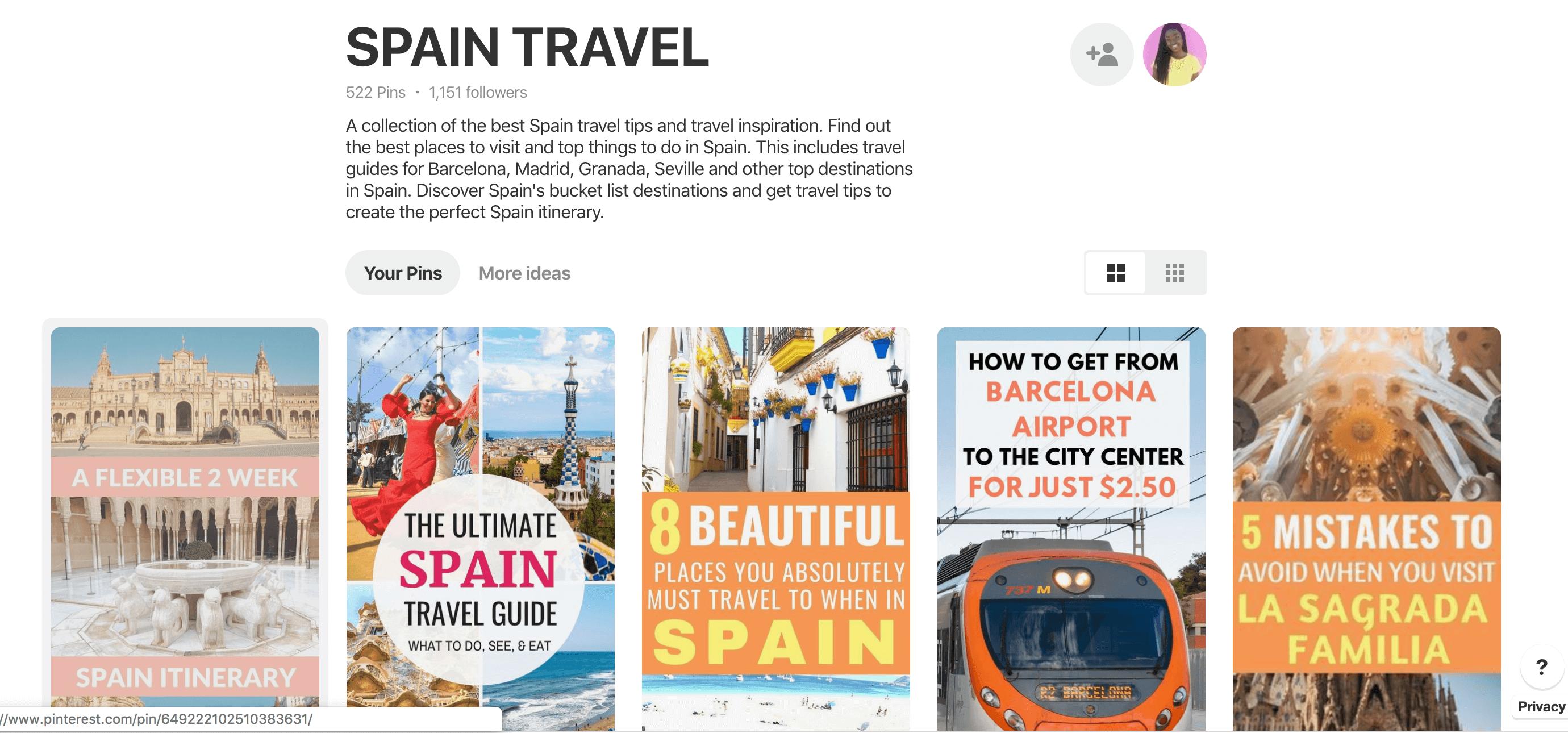 Pinterest for travel bloggers - Spain travel group board