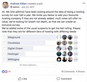 Blogging resources - Siteground poll