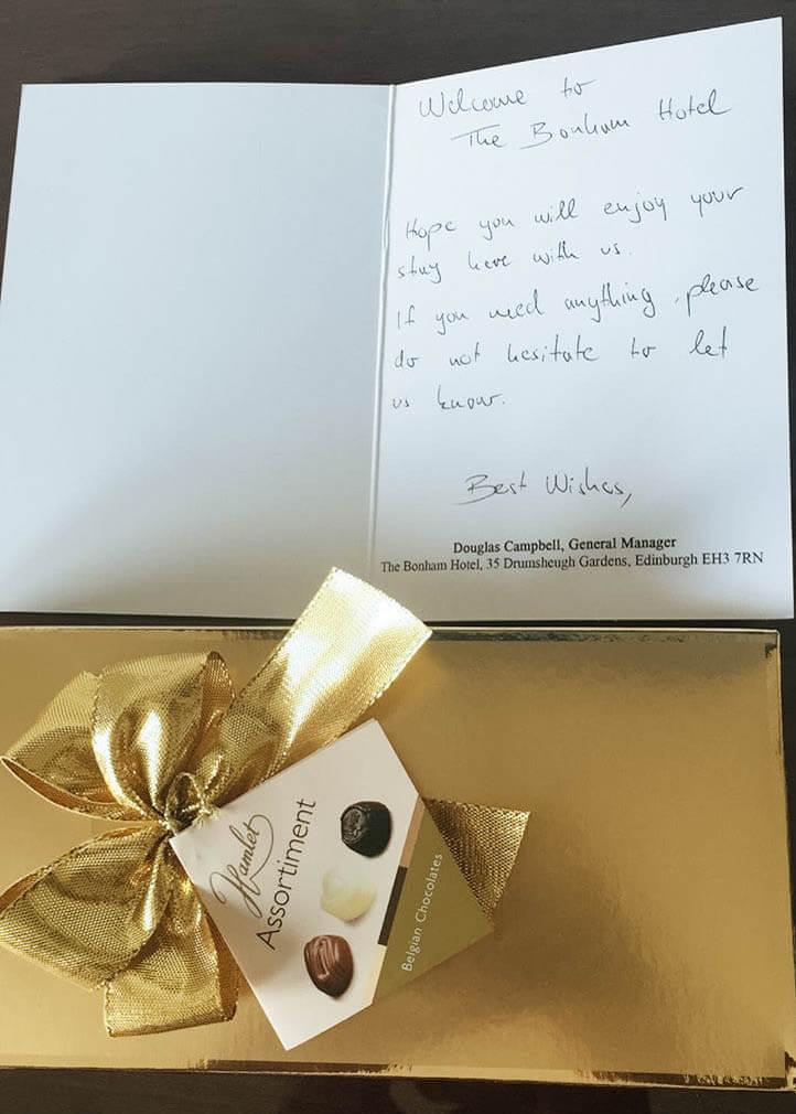 The Bonham Hotel Review - Handwritten Note