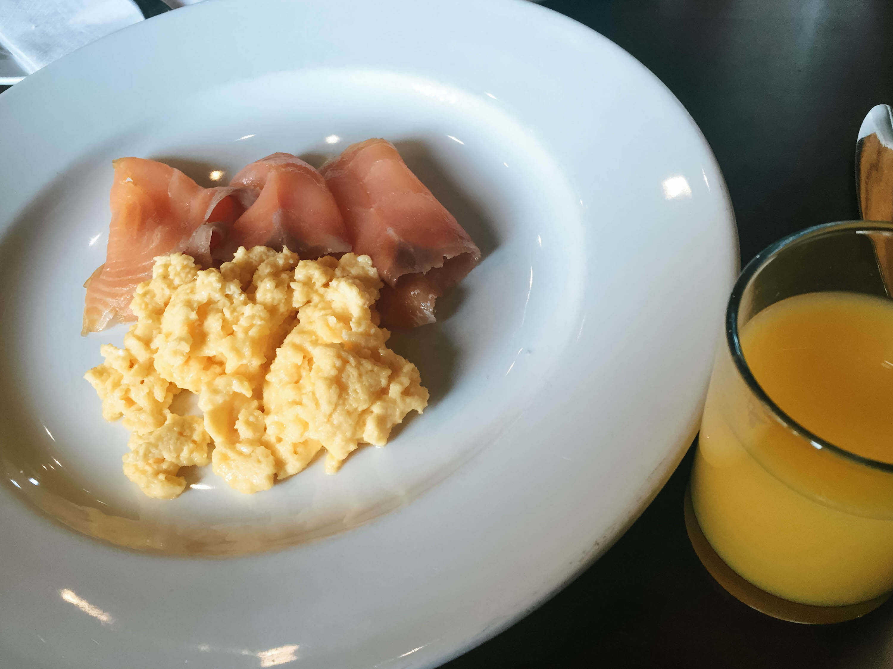 The Bonham Hotel Review - Salmon and Eggs plus Orange Juice Breakfast