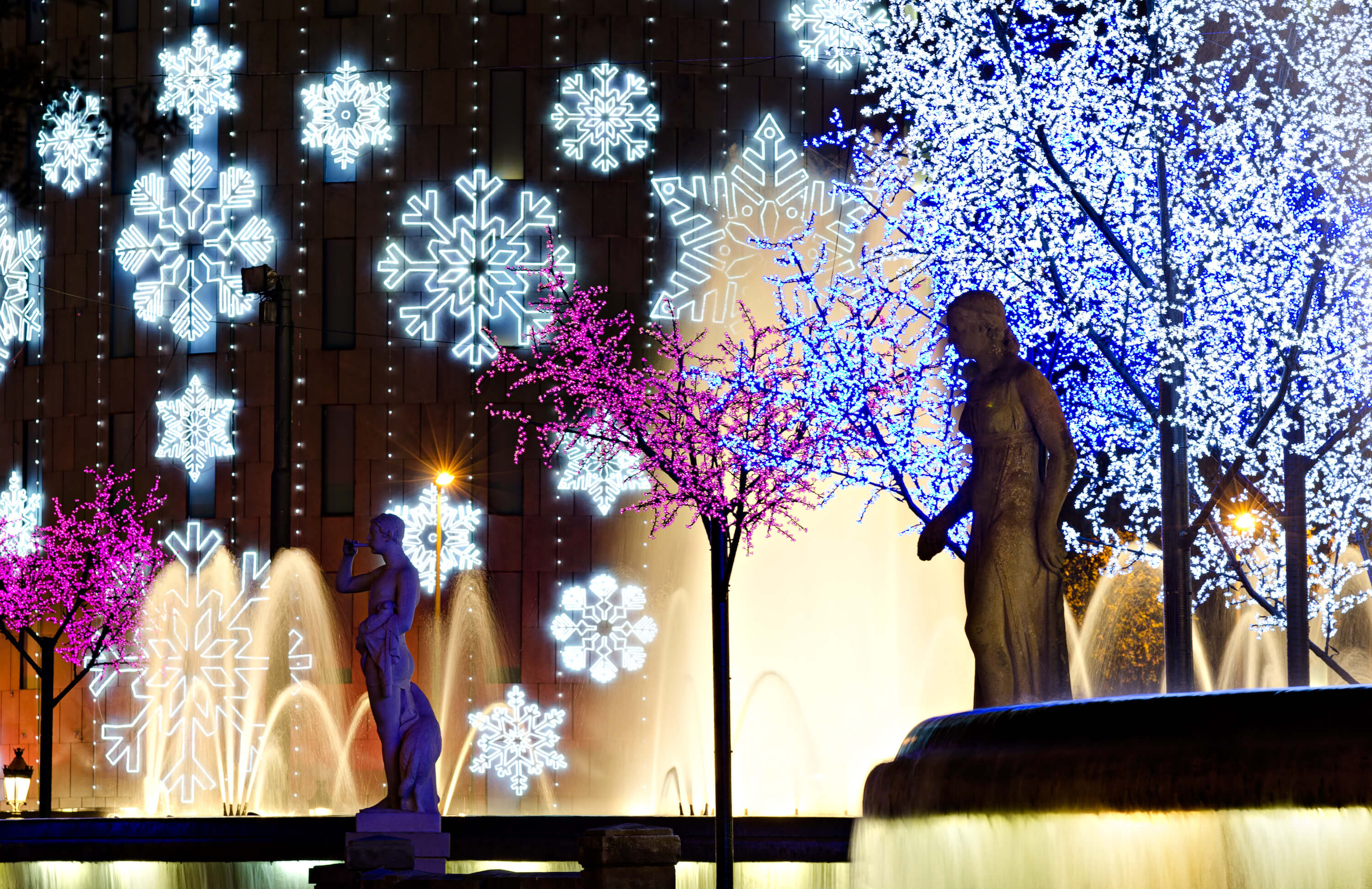 Christmas Traditions in Barcelona - Placa de Catalunya with Christmas lights