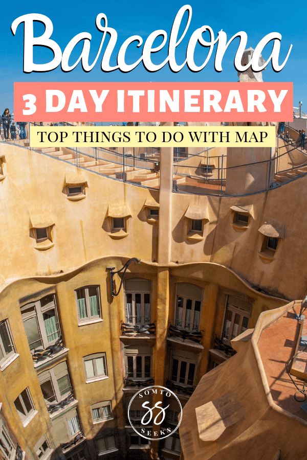 Barcelona 3 day itinerary - top things to do with map