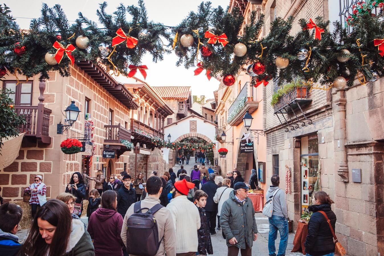 Best Christmas markets in Barcelona Poble Espanyol entrance