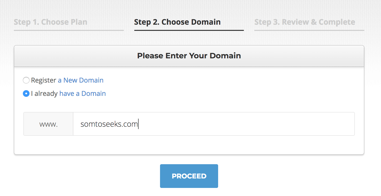 Switch from Bliuehost to Siteground - choose a domain step 2