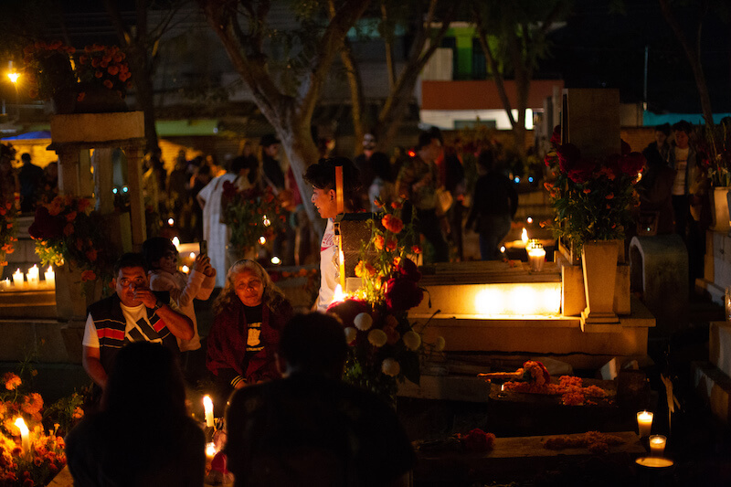 day of the dead Oaxaca - candlelit gravesite
