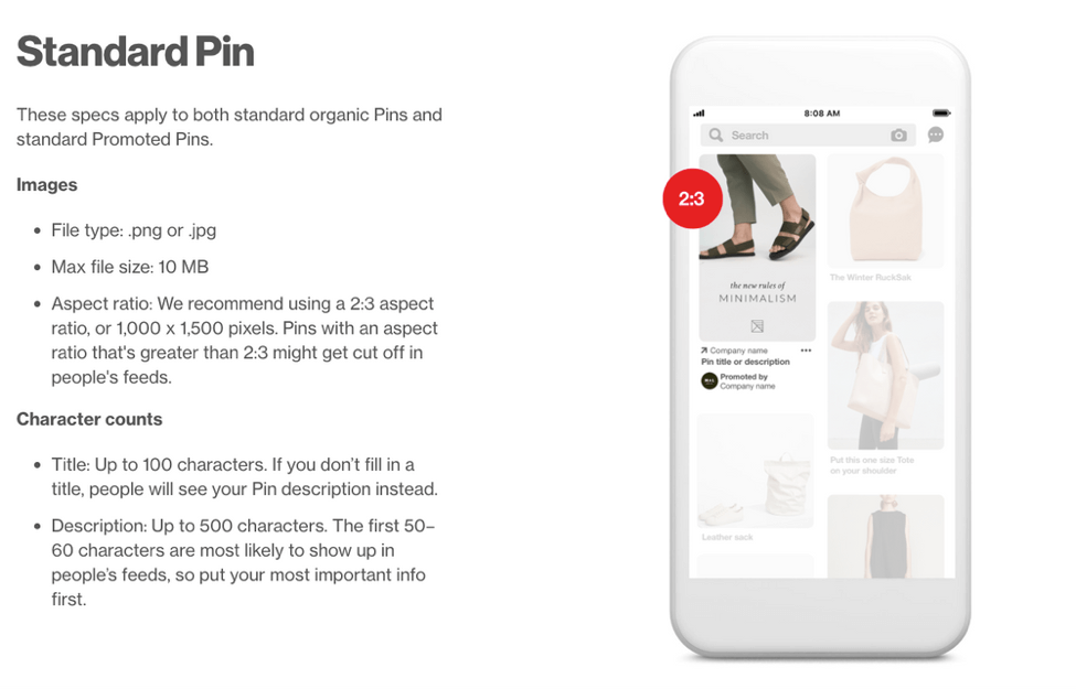 how to design viral pins - standard pin information