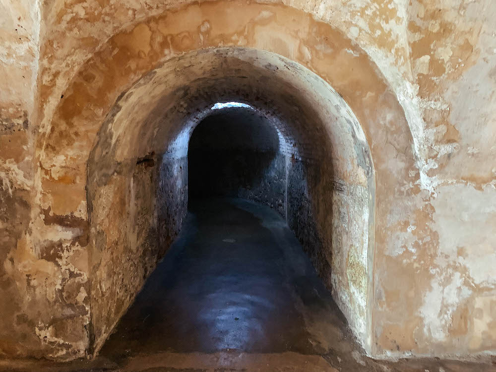 Inside a tunnel at Castillo San Cristobal