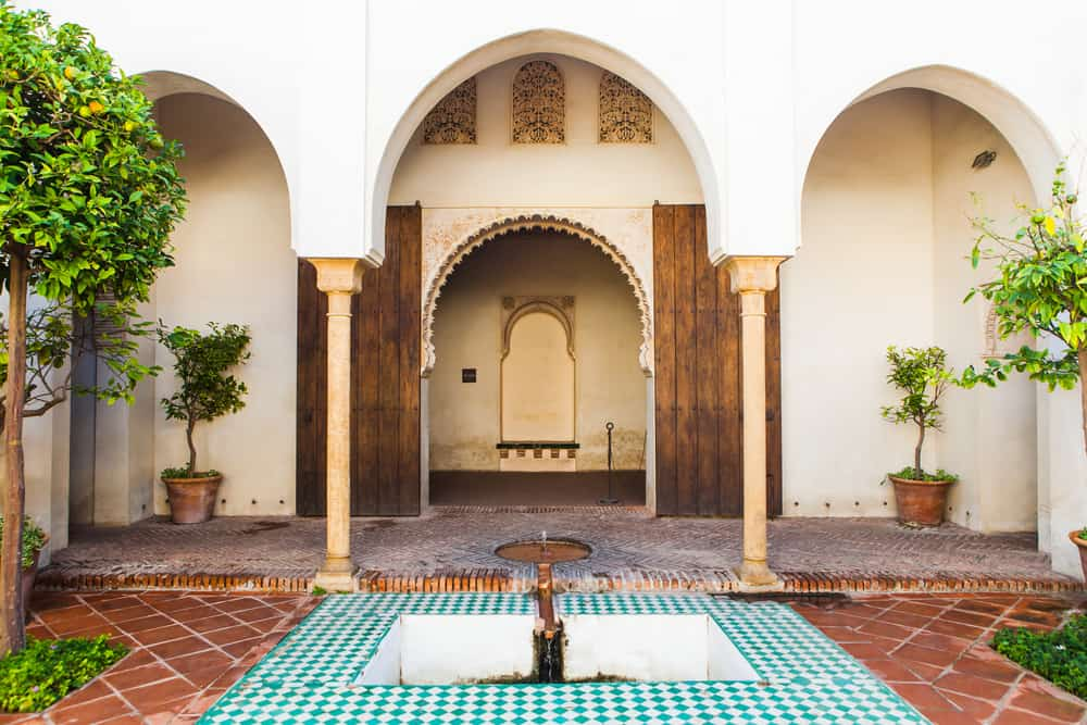 Courtyard of Alcazaba of Malaga.