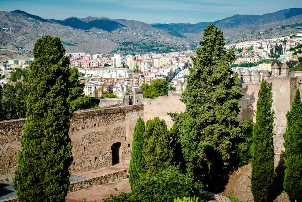 Gibralfaro fortress (Alcazaba de Malaga) and view of Malaga city